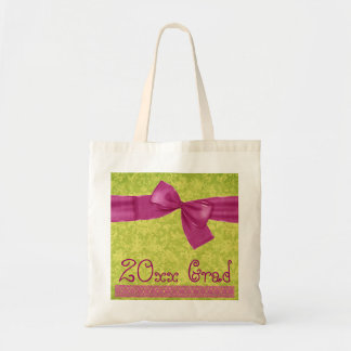 New Grad Bag - Pink and Lime Bow and Damask