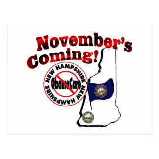 New Hampshire Anti ObamaCare – November's Coming! Postcard