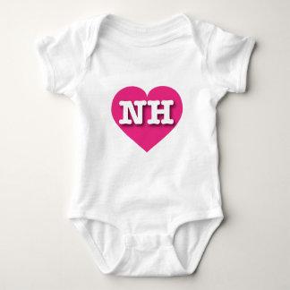 New Hampshire Hot Pink Heart - Big Love Baby Bodysuit