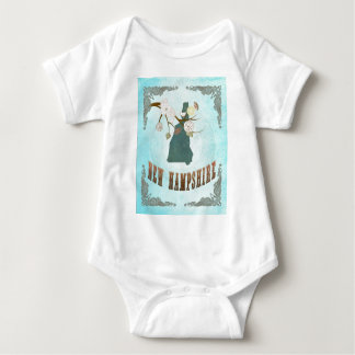 New Hampshire Map With Lovely Birds Baby Bodysuit