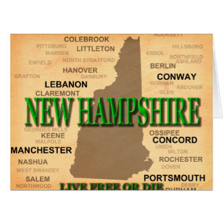 New Hampshire Vintage Map Card