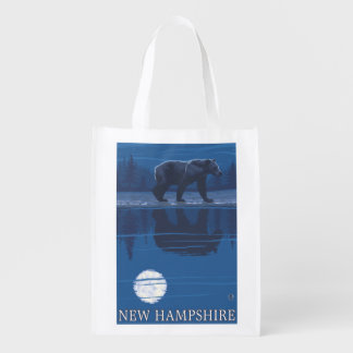 New HampshireBear in the Moonlight Reusable Grocery Bag