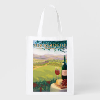 New HampshireWine Country Scene Reusable Grocery Bag