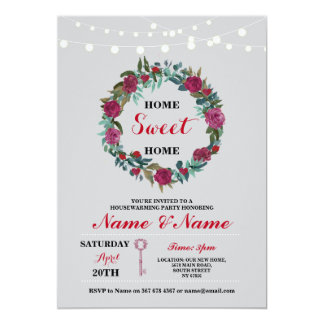 New Housewarming Sweet Home Key Floral Invite