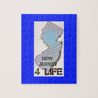"""""""New Jersey 4 Life"""" State Map Pride Design Jigsaw Puzzle"""