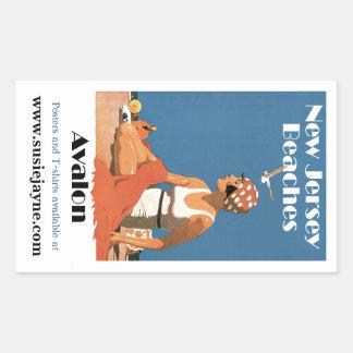 New Jersey Beaches ~ Avalon Rectangular Sticker