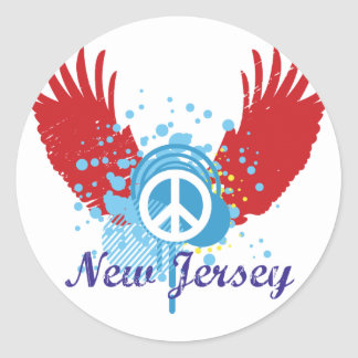 New Jersey Peace Sign Round Stickers