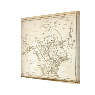 New Map of North America Stretched Canvas Print