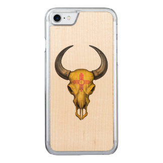 New Mexico Flag Bull Skull Carved iPhone 7 Case