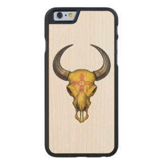 New Mexico Flag Bull Skull Carved® Maple iPhone 6 Slim Case