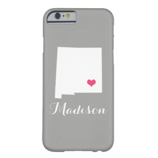 New Mexico Heart Gray Custom Monogram Barely There iPhone 6 Case