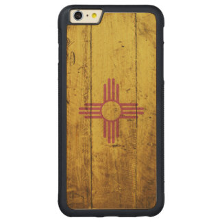 New Mexico State Flag on Old Wood Grain Carved® Maple iPhone 6 Plus Bumper Case