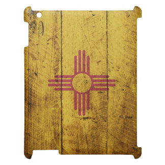 New Mexico State Flag on Old Wood Grain iPad Covers