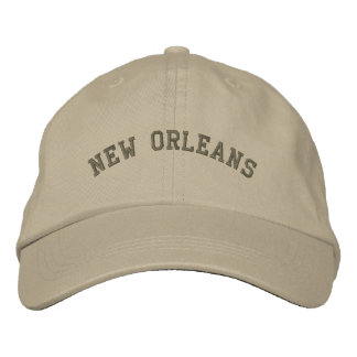 New Orleans Embroidered Basic Cap Olive Green Embroidered Hat