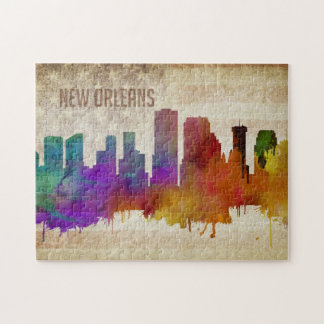 New Orleans, LA | Watercolor City Skyline Jigsaw Puzzle