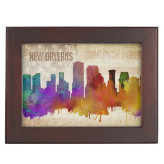 New Orleans, LA | Watercolor City Skyline Keepsake Box