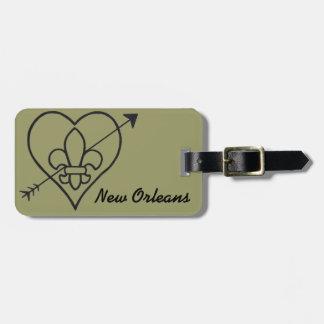 New Orleans Love Heart & Fleur De Lis Luggage Tag