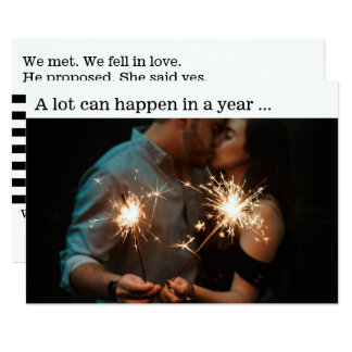 New Year Couple Engagement Announcement Photo Card