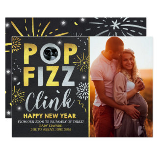New Year Pregnancy Announcement New Year Card
