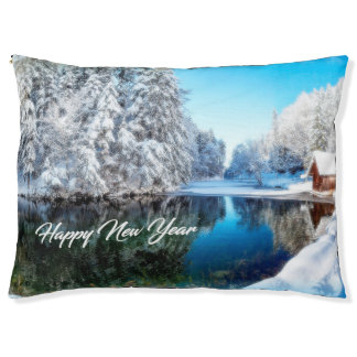 New Year Theme Dog Bed
