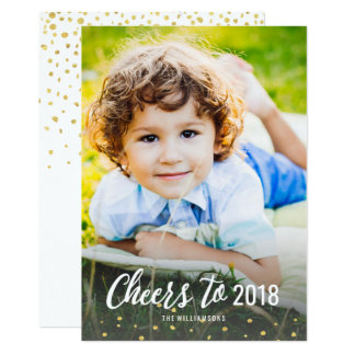 New Year's Cheers To 2018 Gold Confetti Photo Card