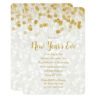 New Year's Eve Faux Gold Glitter Invitation