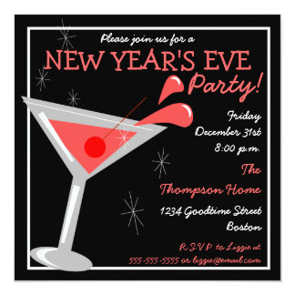 New Years Eve Martini Cocktail Party Invitation