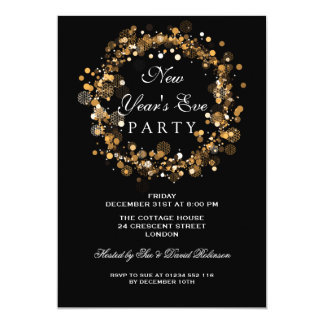 New Years Eve Party Festive Wreath Gold Card