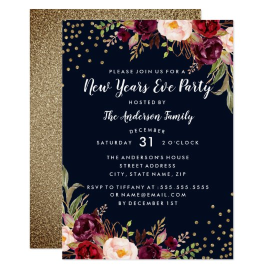 New Years Eve Party Navy Burgundy Gold Floral Card