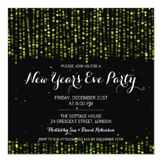 New Years Eve Party Star Confetti Green Card