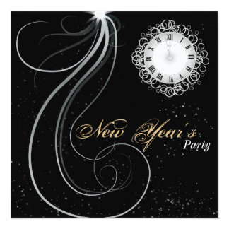 New Year's Party Invitation - Silver & Gold Clock