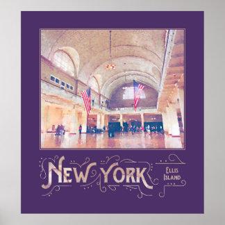 New York City Ellis Island Museum Watercolor Poster