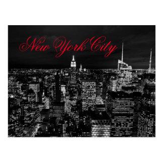 New York City Night Black & White Red Script Postcard