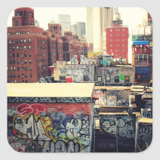 New York City Rooftops Covered in Graffiti Square Sticker