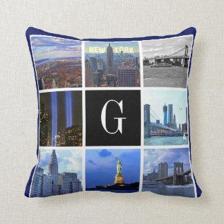 New York City Skyline 8 Image Photo Collage Cushion