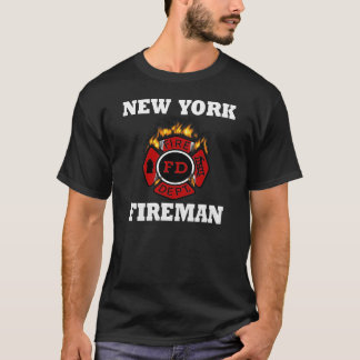 New York  Fireman Symbol Flames T-Shirt
