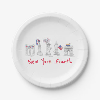 New York Fourth NYC July 4th Patriotic Plates 7 Inch Paper Plate