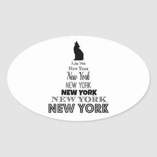 New York Howling, Dog Coyote, Wolf - I love NY Oval Sticker