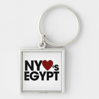 New york LOVES Egypt Silver-Colored Square Key Ring