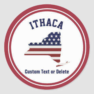 New York | Patriotic USA Flag | Your Text or City Classic Round Sticker