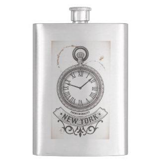 New York Pocket Watch Hip Flask