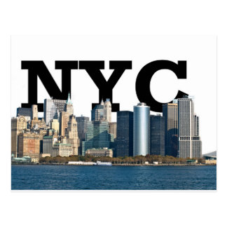 """New York skyline with """"NYC"""" in the sky above. Postcard"""