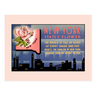 New York state flower vintage greetings from Postcard