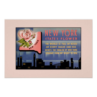 New York state flower vintage greetings from Poster