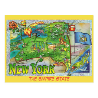 New York State Map Postcard