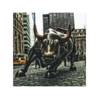 New York Wall Street Bull on canvas