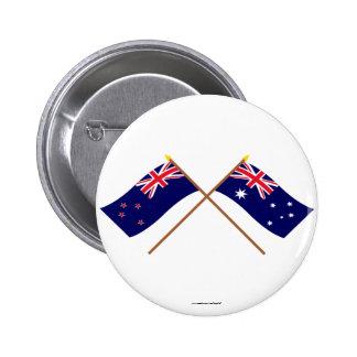 New Zealand and Australia Crossed Flags 6 Cm Round Badge