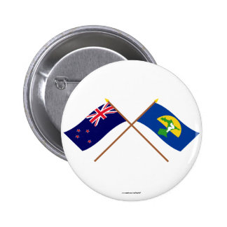 New Zealand and Chatham Islands Crossed Flags 6 Cm Round Badge