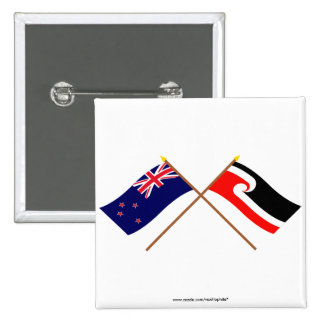 New Zealand and Maori People Crossed Flags 15 Cm Square Badge