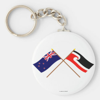 New Zealand and Maori People Crossed Flags Basic Round Button Key Ring